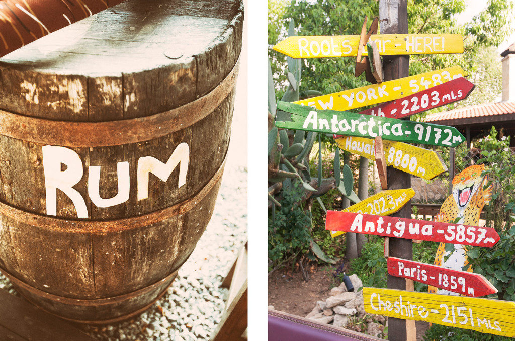 rum barrel and sign posts