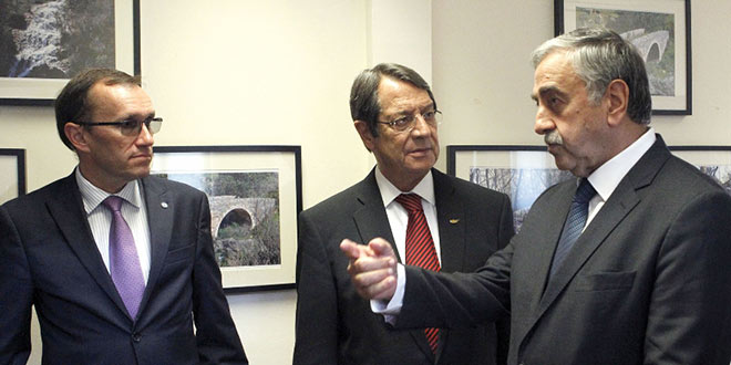 The two Cypriot leaders are meeting