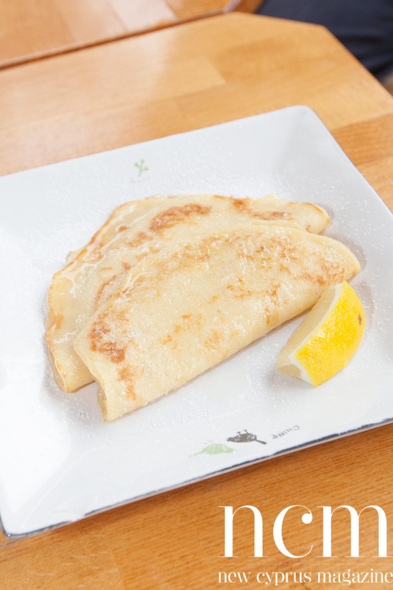 Pancakes with lemon at Food Lodge North Cyprus