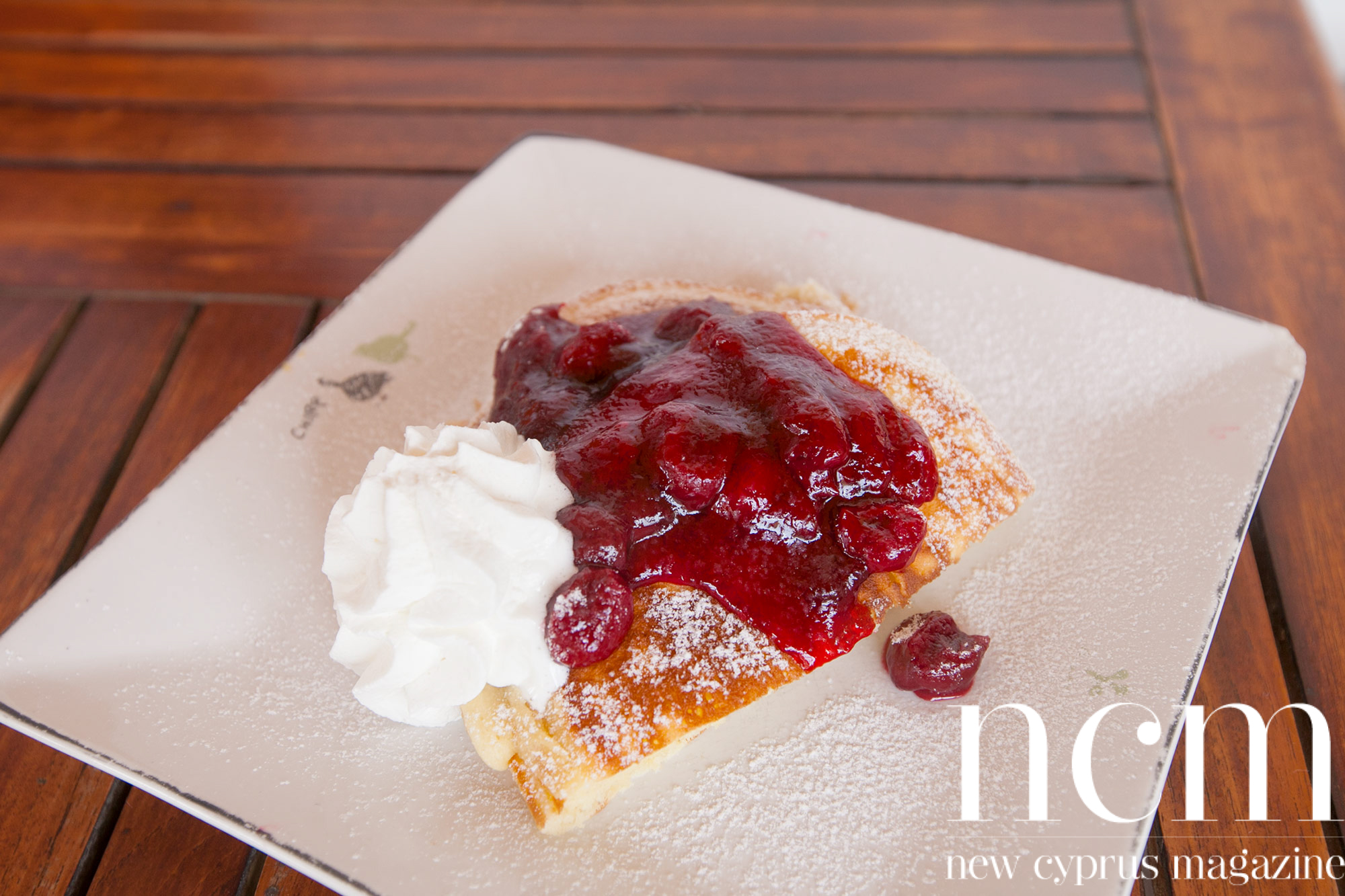 Pancakes with cherry and cream at Food Lodge North Cyprus