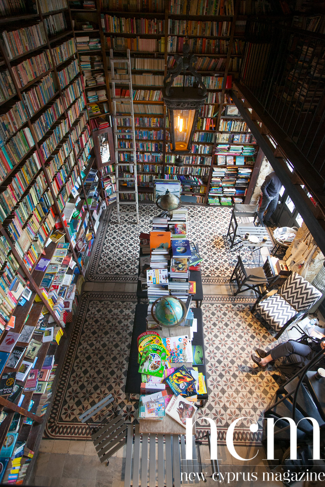 Cosy book cafe long history from above