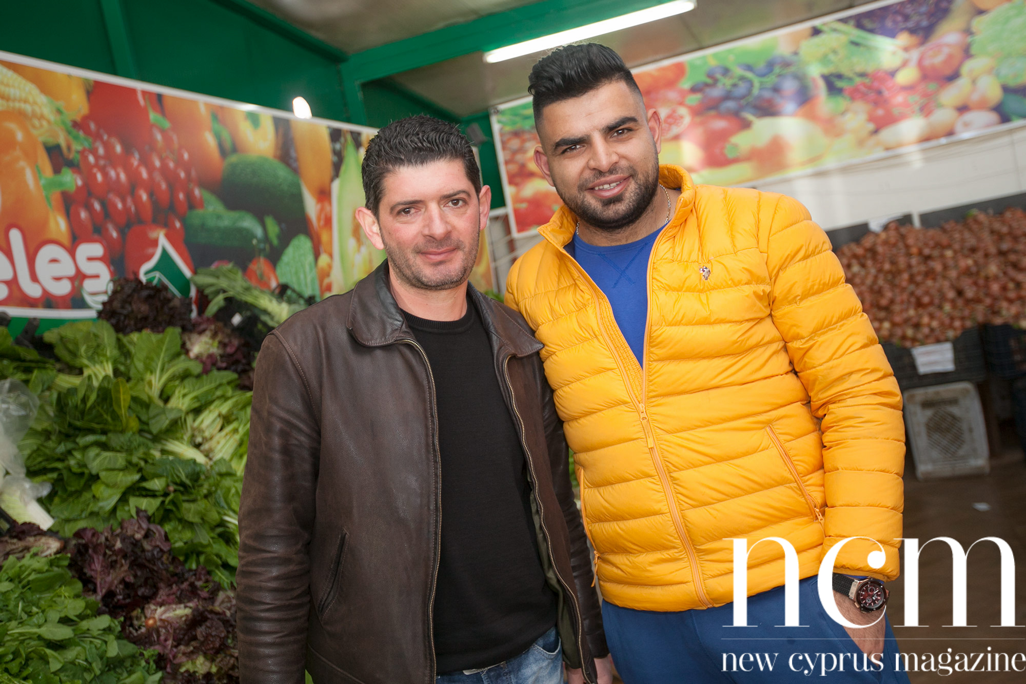 Owner and Kemal at Fruit veg Ya Beles in North Cyprus